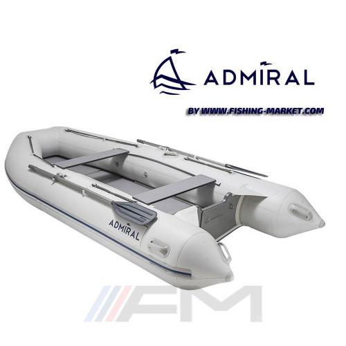 ADMIRAL - Надуваема моторна лодка с твърдо дъно и надуваем кил AM-375 Sport - светло сива
