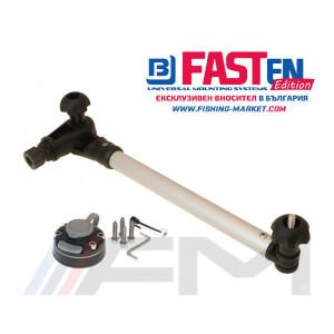 FASTen Стойка за сонда в комплект с монтажна основа за твърд борд STm300 - 30 cm / черна ALA