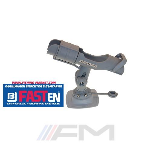 FASTen Стойка за въдица в комплект с монтажна основа за надуваем PVC борд HTp213 - светло сива
